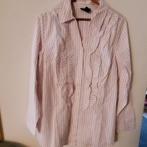 Lane Bryant White/Pink Button Down Shirt 16